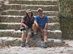 Taking a break on the steps of one of the ruins at Tikal